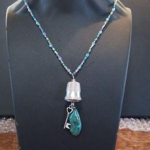 Handmade, New, thimble, key, stone, necklace